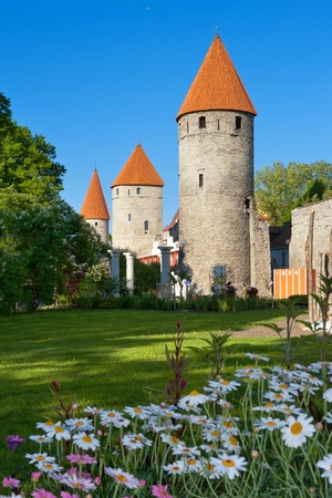 Medieval towers - part of the city wall. Tallinn, Estonia (Focus on the towers)