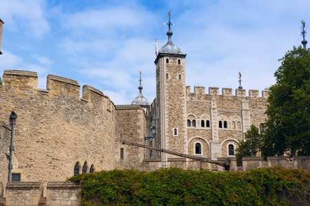 norman castle: View of the Tower of London. London, UK