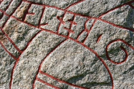 futhark: Close-up of runic stone. Sweden Stock Photo