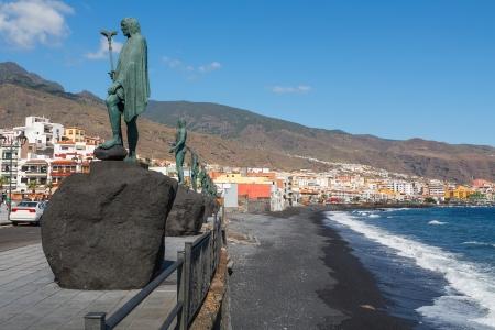canarias: Guanche statues on waterfront  Plaza de La Patrona de Canarias, Candelaria, Tenerife, Canary Islands, Spain