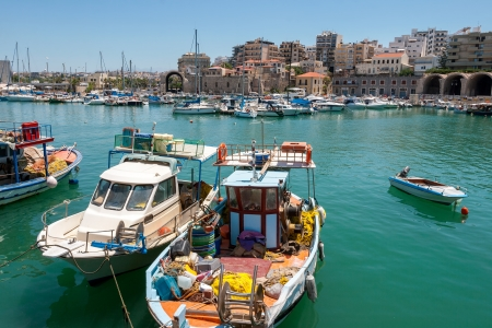 Boats in the old port of Heraklion  Crete, Greece, Europe