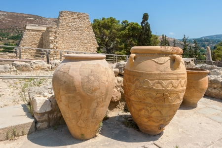 Clay jars at Knossos palace  Crete, Greece