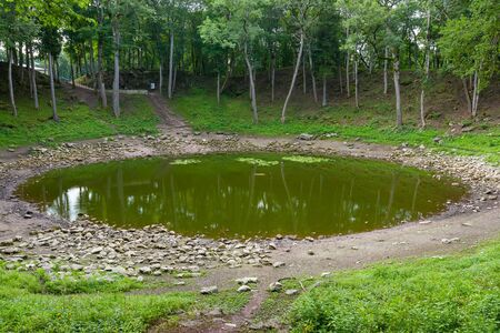 crater lake: Lake in the main meteorite crater at Kaali  Saaremaa island, Estonia Stock Photo
