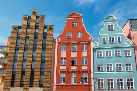 Row of houses in the Kroepeliner street  Rostock  Germany Stock Photo