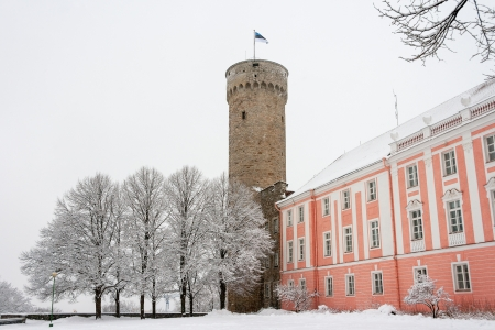 Herman tower and Parliament building during a snowfall  Tallinn, Estonia photo