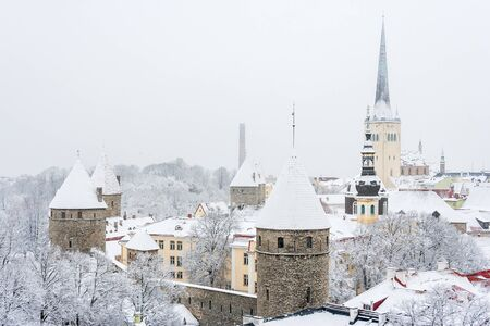 Old town during a snowfall  Tallinn  Estonia, Europe photo