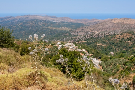 View of the countryside from mountains surrounding the Lasithi plateau. Crete, Greece  photo