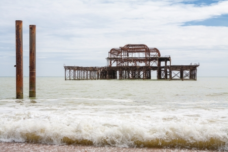 burned out: Burned out West Pier ruins  Brighton, East Sussex, England Stock Photo
