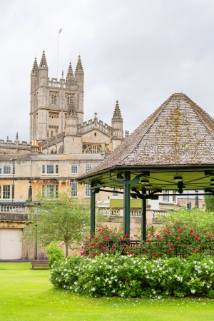 bandstand: Bandstand in the Parade Gardens and Bath Abbey  Bath, Somerset, England