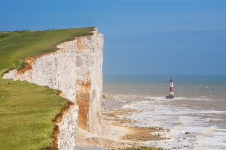 cliff edge: Chalk cliff at Beachy Head near Eastbourne  East Sussex  England