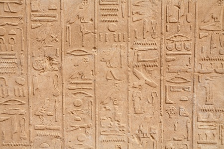 Hieroglyphs on a wall  Karnak Temple, Luxor, Egypt photo