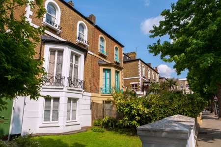 Traditional town houses at Hammersmith district in London  England Stock Photo