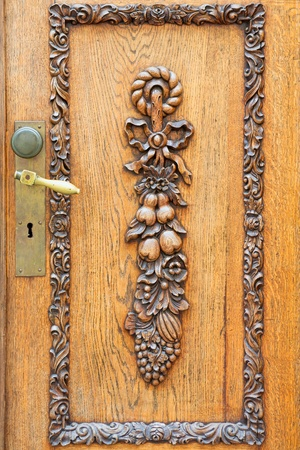 wood carving door: Door with ornate carving  Tallinn, Estonia Stock Photo