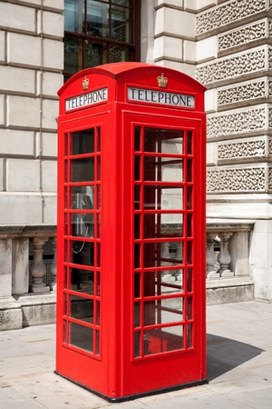 Red telephone box in London  England photo