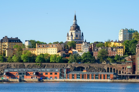 katarina: View towards Sodermalm and St Katarina Churlch  Stockholm, Sweden Stock Photo
