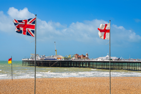 union beach: Seafront and pier at Brighton  East Sussex, England