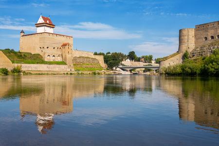 herman: Hermann fortress in Narva, Estonia and Ivangorod Fortress in Russia  Europe, Estonian-Russian Border Editorial