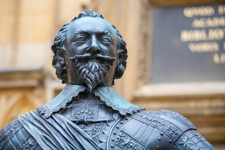 Statue of William Herbert, 3rd Earl of Pembroke, chancellor of the University of Oxford and founder of Pembroke College  Bodleian Library courtyard, Oxford, England