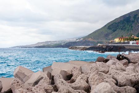 gabion: North coast of Tenerife near the town of Garachico on the Canary Islands  Spain