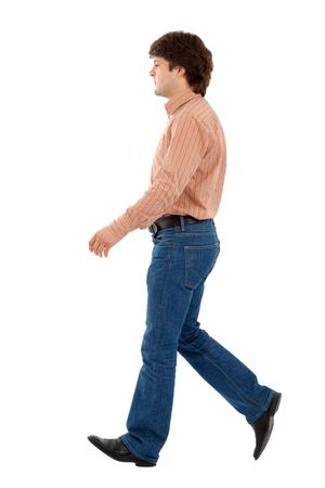 Casual man walking on white background Stock Photo