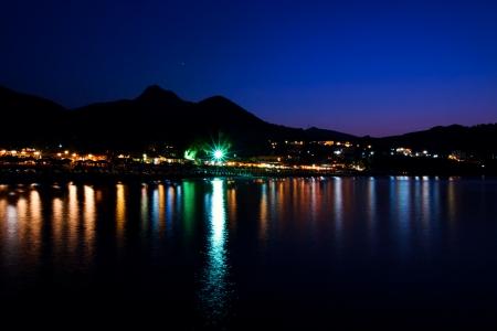 duskiness: Beach illumination in Bali at night  Crete, Greece