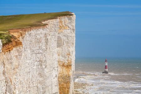 cliff edges: Chalk cliff at Beachy Head near Eastbourne. East Sussex. England