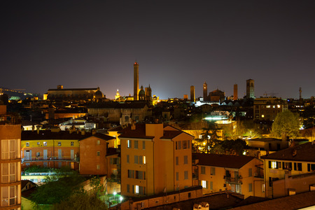 bologna: Night view of Bologna. Emilia-Romagna, Italy Stock Photo