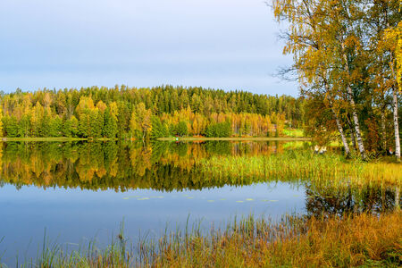 waterscape: Autumn mood at lake. Finland, Europe