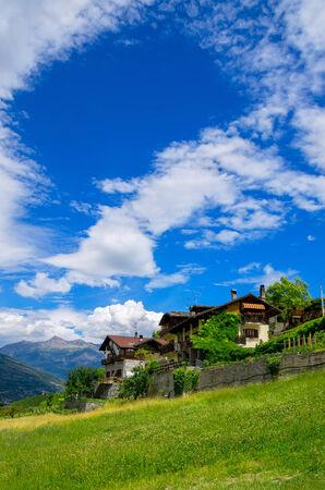 aosta: Traditional houses in Aymavilles. Aosta Valley, Italian Alps, Italy, Europe Stock Photo
