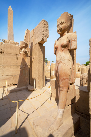 dyad: Amunet Dyad and Amun Re statues. Karnak Temple, Luxor, Egypt