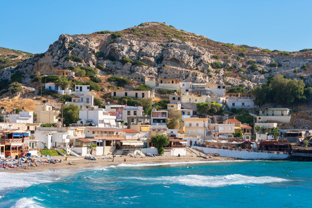 Beach and village in Matala  Crete island, Greece