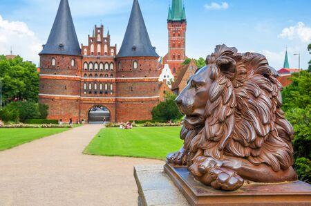holstein: Lion statue beside Holstein Gate at Lubeck  Germany