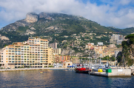 View of Fontvieille harbour and port. Monaco, France   photo