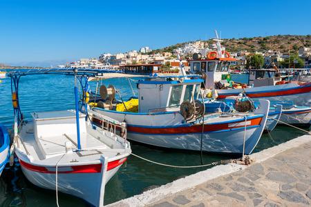 Fishing boats in the harbour of Elounda. Crete, Greece, Europe