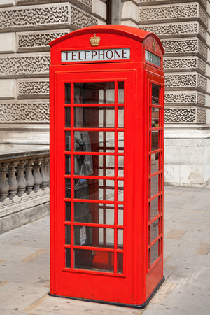 Red telephone box at London. England Stock Photo
