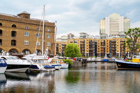 Yachts moored in St Katharines Dock. London. England