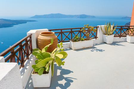 Terrace overlooking the Caldera. Fira, Santorini, Cyclades, Greece, Europe photo