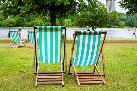 hyde: Empty deckchairs in Hyde Park. London, England, UK