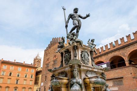 bologna: The Neptune Fountain in Piazza del Nettuno. Bologna, Emilia Romagna, Italy