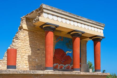 Paleis van Knossos ruïnes. Heraklion, Kreta, Griekenland Stockfoto