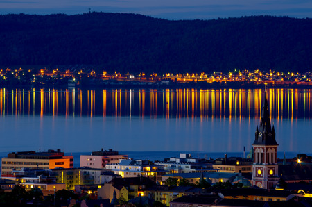 Night view of Jonkoping city. Jonkoping Municipality, Smaland, Sweden photo