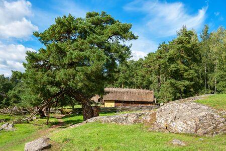 settlements: Wooden houses in Vikings village. Sweden, Scandinavia, Europe