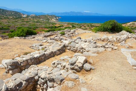 past civilizations: Ruins of the ancient Minoan settlement. Gournia, Crete, Greece Stock Photo
