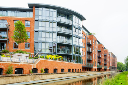 modern residential building: Residential building on the Oxford Canal. Oxford, England