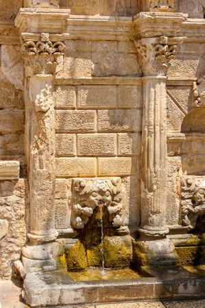 rethymno: Detail of the Rimondi fountain in old town of Rethymno. Crete, Greece