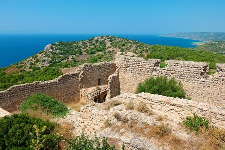 14th century: The castle of Kritinia (Kastelos), is a Venetian castle built in the 14th century. Rhodes, Greece Stock Photo