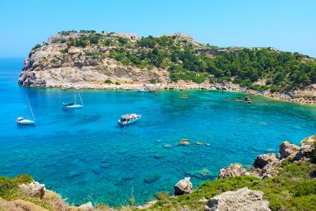 ホテル Anthony クイン湾。ロードス、ギリシャ、ドデカニサ諸島、ヨーロッパ 写真素材