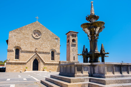 annunciation: Church of the Evangelismos (Annunciation) and fountain at Mandraki harbour. Rhodes town, Rhodes, Dodecanese, Greece
