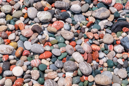 greece granite: Colourful pebble on a beach. Rhodes, Greece