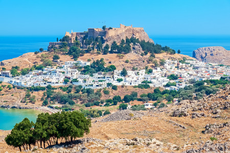 dodecanese: View of Lindos town and Acropolis. Rhodes island, Dodecanese islands, Greece, Europe Stock Photo
